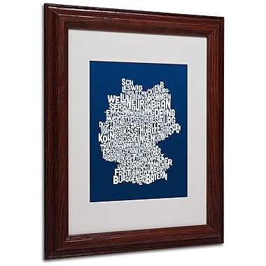 Michael Tompsett 'NAVY-Germany Regions Map' Matted Framed - 11x14 Inches - Wood Frame