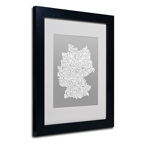 Trademark Fine Art Michael Tompsett 'NEUTRAL-Germany Regions Map' Matted Black Frame 11x14 Inches