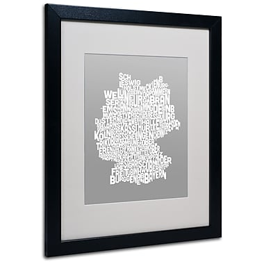 Trademark Fine Art Michael Tompsett 'NEUTRAL-Germany Regions Map' Matted Black Frame 16x20 Inches