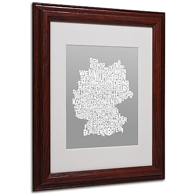 Michael Tompsett 'NEUTRAL-Germany Regions Map' Matted Framed - 11x14 Inches - Wood Frame