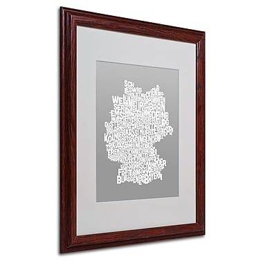 Michael Tompsett 'NEUTRAL-Germany Regions Map' Matted Framed - 16x20 Inches - Wood Frame