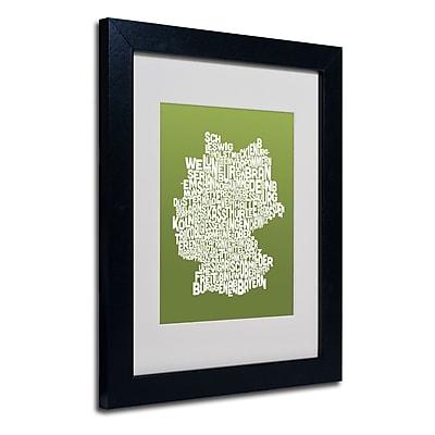 Trademark Fine Art Michael Tompsett 'OLIVE-Germany Regions Map' Matted Black Frame 11x14 Inches