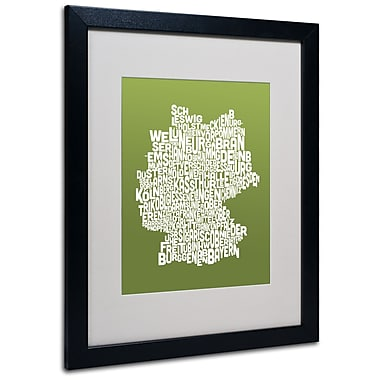 Trademark Fine Art Michael Tompsett 'OLIVE-Germany Regions Map' Matted Black Frame 16x20 Inches