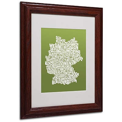 Michael Tompsett 'OLIVE-Germany Regions Map' Matted Framed - 11x14 Inches - Wood Frame