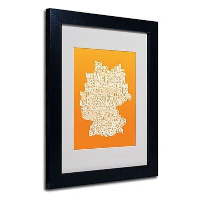 Trademark Fine Art Michael Tompsett 'ORANGE-Germany Regions Map' Matted Black Frame 11x14 Inches