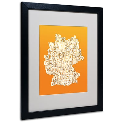 Trademark Fine Art Michael Tompsett 'ORANGE-Germany Regions Map' Matted Black Frame 16x20 Inches