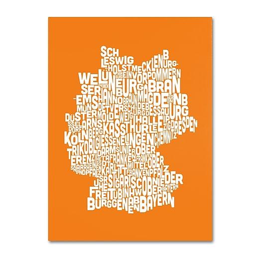 Trademark Fine Art Michael Tompsett 'ORANGE-Germany Regions Map' Canvas Art 30x47 Inches