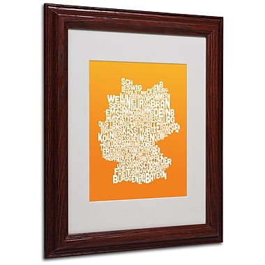 Michael Tompsett 'ORANGE-Germany Regions Map' Matted Framed - 11x14 Inches - Wood Frame