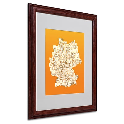 Michael Tompsett 'ORANGE-Germany Regions Map' Matted Framed - 16x20 Inches - Wood Frame