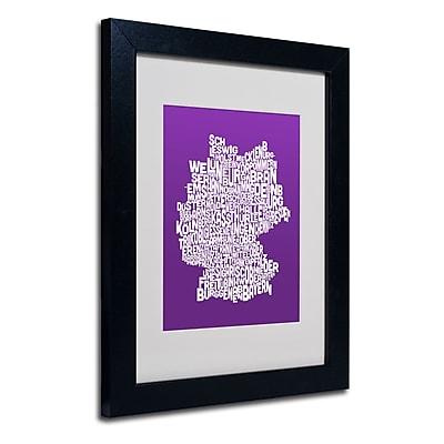 Trademark Fine Art Michael Tompsett 'PURPLE-Germany Regions Map' Matted Black Frame 11x14 Inches