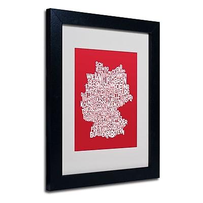 Trademark Fine Art Michael Tompsett 'RED-Germany Regions Map' Matted Art Black Frame 11x14 Inches