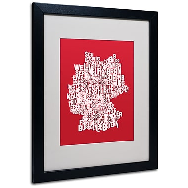 Trademark Fine Art Michael Tompsett 'RED-Germany Regions Map' Matted Art Black Frame 16x20 Inches