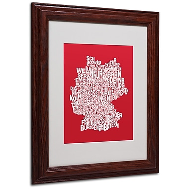 Michael Tompsett 'RED-Germany Regions Map' Matted Framed Art - 11x14 Inches - Wood Frame