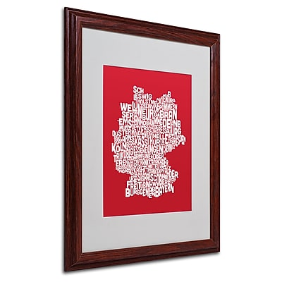 Michael Tompsett 'RED-Germany Regions Map' Matted Framed Art - 16x20 Inches - Wood Frame