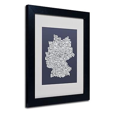 Trademark Fine Art Michael Tompsett 'SLATE-Germany Regions Map' Matted Black Frame 11x14 Inches