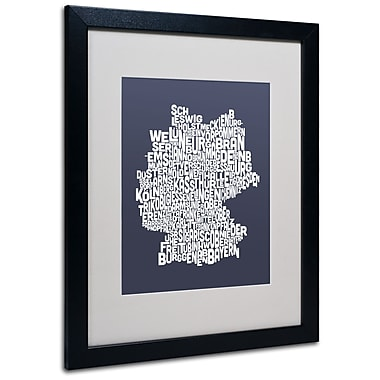 Trademark Fine Art Michael Tompsett 'SLATE-Germany Regions Map' Matted Black Frame 16x20 Inches