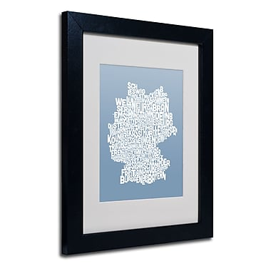 Trademark Fine Art Michael Tompsett 'STEEL-Germany Regions Map' Matted Black Frame 11x14 Inches