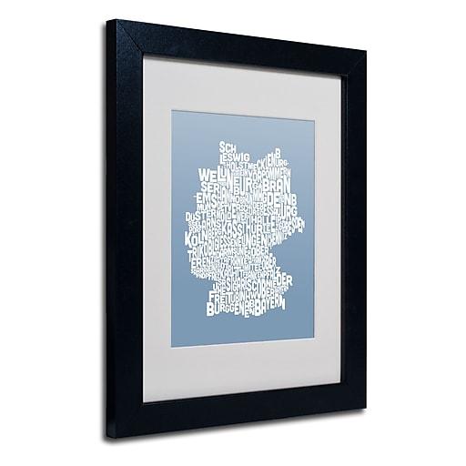 Trademark Fine Art Michael Tompsett 'STEEL-Germany Regions Map' Matted Black Frame 11x14 Inches