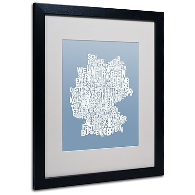 Trademark Fine Art Michael Tompsett 'STEEL-Germany Regions Map' Matted Black Frame 16x20 Inches