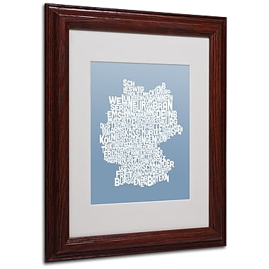Michael Tompsett 'STEEL-Germany Regions Map' Matted Framed - 11x14 Inches - Wood Frame