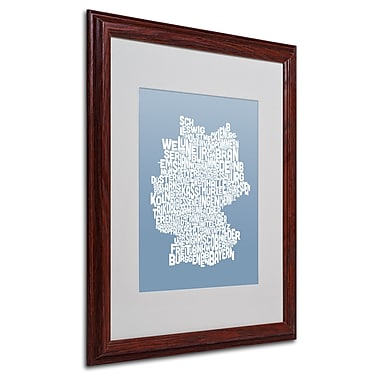 Michael Tompsett 'STEEL-Germany Regions Map' Matted Framed - 16x20 Inches - Wood Frame