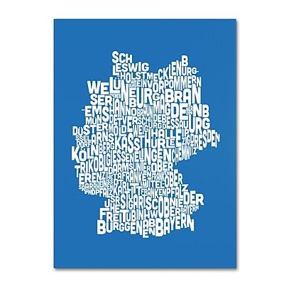 Trademark Fine Art Michael Tompsett 'SUMMER-Germany Regions Map' Canvas Art 16x24 Inches