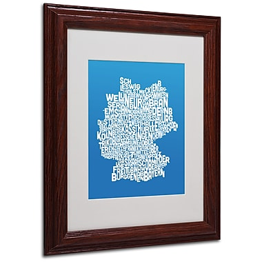 Michael Tompsett 'SUMMER-Germany Regions Map' Matted Framed - 11x14 Inches - Wood Frame