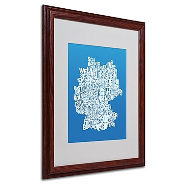Michael Tompsett 'SUMMER-Germany Regions Map' Matted Framed - 16x20 Inches - Wood Frame