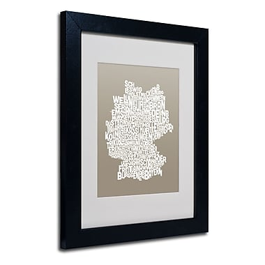 Trademark Fine Art Michael Tompsett 'TAUPE-Germany Regions Map' Matted Black Frame 11x14 Inches
