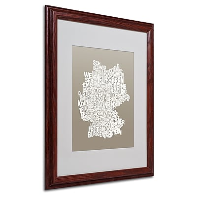 Michael Tompsett 'TAUPE-Germany Regions Map' Matted Framed - 16x20 Inches - Wood Frame