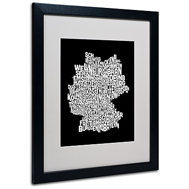 Trademark Fine Art Michael Tompsett 'Germany Regions Map' Matted Art Black Frame 16x20 Inches