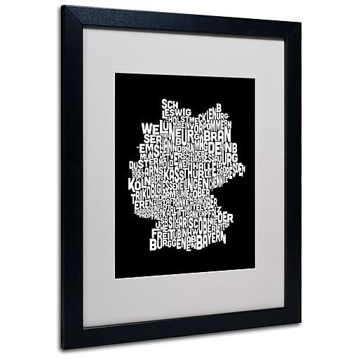 Trademark Fine Art Michael Tompsett 'Germany Regions Map' Matted Art Black Frame 16x20 Inches