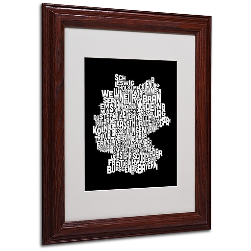 Michael Tompsett 'Germany Regions Map' Matted Framed Art - 11x14 Inches - Wood Frame