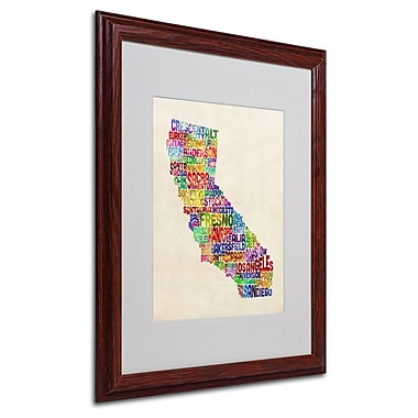 Michael Tompsett 'California Text Map' Matted Framed Art - 16x20 Inches - Wood Frame