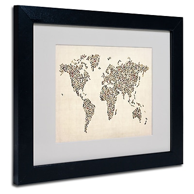 Trademark Fine Art Michael Tompsett 'Ladies Shoes World Map' Matted Art Black Frame 11x14 Inches