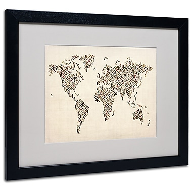Trademark Fine Art Michael Tompsett 'Ladies Shoes World Map' Matted Art Black Frame 16x20 Inches