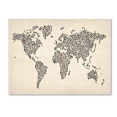 Trademark Fine Art Michael Tompsett 'Ladies Shoes World Map' Canvas Art 16x24 Inches