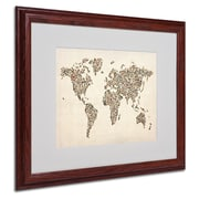 Michael Tompsett 'Ladies Shoes World Map' Matted Framed Art - 16x20 Inches - Wood Frame