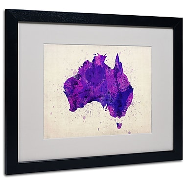 Trademark Fine Art Michael Tompsett 'Australia Paint Splashes Map' Black Frame 16x20 Inches