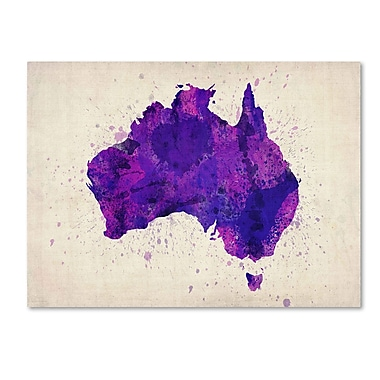 Trademark Fine Art Michael Tompsett 'Australia Paint Splashes Map' Canvas Art 14x19 Inches