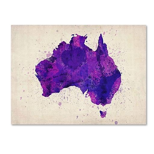Trademark Fine Art Michael Tompsett 'Australia Paint Splashes Map' Canvas Art 22x32 Inches