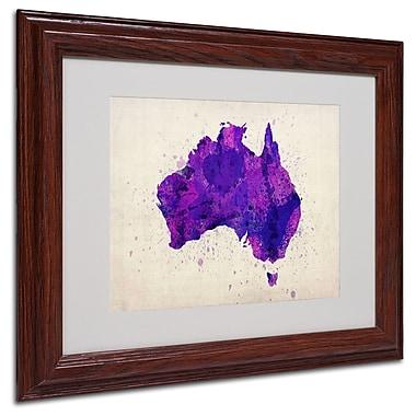 Michael Tompsett 'Australia Paint Splashes Map' Framed - 11x14 Inches - Wood Frame
