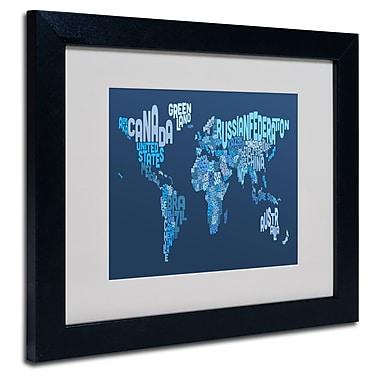 Trademark Fine Art Michael Tompsett 'World Text Map 2' Matted Art Black Frame 11x14 Inches