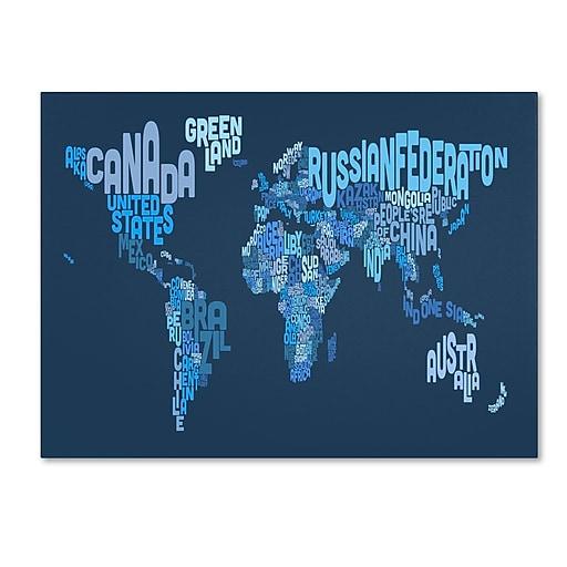 Trademark Fine Art Michael Tompsett 'World Text Map 2' Canvas Art 22x32 Inches