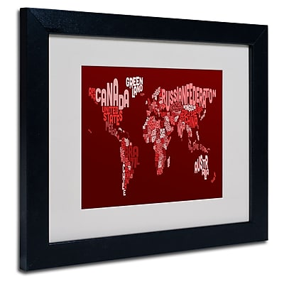 Trademark Fine Art Michael Tompsett 'World Text Map 3' Matted Art Black Frame 11x14 Inches