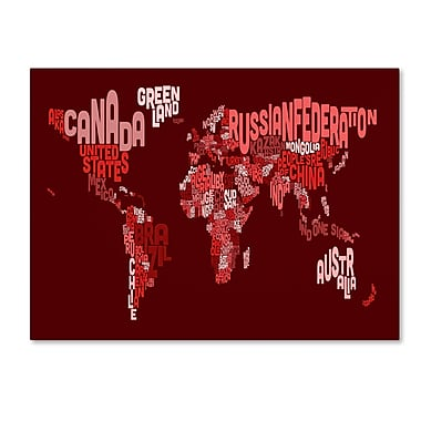 Trademark Fine Art Michael Tompsett 'World Text Map 3' Canvas Art 16x24 Inches