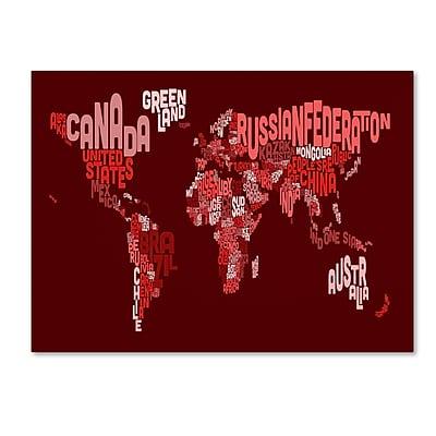 Trademark Fine Art Michael Tompsett 'World Text Map 3' Canvas Art 30x47 Inches