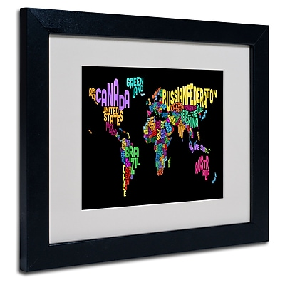 Trademark Fine Art Michael Tompsett 'World Text Map 4' Matted Art Black Frame 11x14 Inches