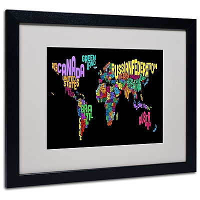 Trademark Fine Art Michael Tompsett 'World Text Map 4' Matted Art Black Frame 16x20 Inches