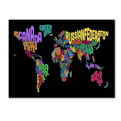 Trademark Fine Art Michael Tompsett 'World Text Map 4' Canvas Art 16x24 Inches